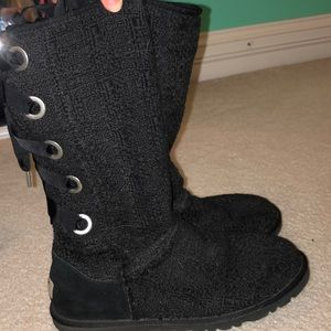Ugg knit boots with ribbon lace up